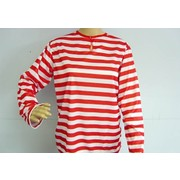 Adult Red & White Stripe Long Sleeve T-Shirt (Small) Pk 1