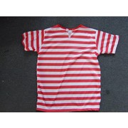 Adult Red & White Stripe Short Sleeve T-Shirt (Large) Pk 1