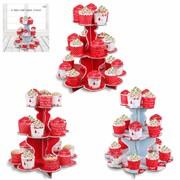 Assorted Christmas 3 Tier Cupcake Stands Pk 3