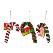 Assorted Tinsel Candy Canes 16cm Pk 3
