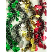 Assorted White Tipped Tinsel Decoration with Bauble Cutouts (2m) Pk 4