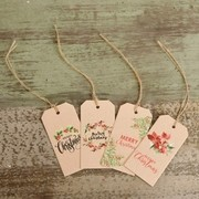 Assorted Floral Kraft Christmas Gift Tags Pk 24