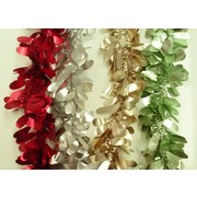 Assorted Colour Deluxe Leaf Tinsel Decoration (2m) Pk 4