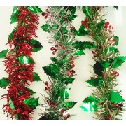 Assorted Holly & Berries Tinsel Decoration (2m) Pk 3