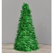 Green Tinsel Cone Christmas Tree (26cm) Pk 1