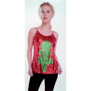 Adult Sequin Christmas Tree Costume Singlet (One Size Fits Most) Pk 1