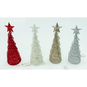 Assorted Colour Mini Glitter Wire Christmas Trees with Star (15cm) Pk 16