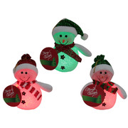 LED Snowman Decorations 15cm Assorted Pk 3