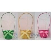 Assorted Colour Cane Easter Basket Pk 3