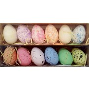 Assorted Decorative Hanging Easter Eggs in Box (4cm x 6cm) - 2 Packs of 6