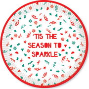 Christmas Sparkle Season 9in. Paper Plates Pk 8