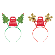 Assorted Design Christmas Glitter Head Bopper Headbands Pk 2