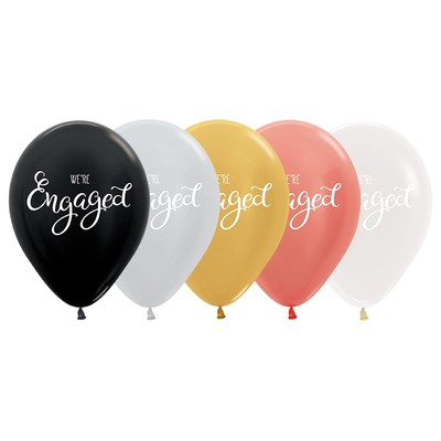 Assorted Colour We're Engaged Crystal & Metallic Latex Balloons Pk 10
